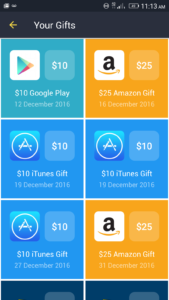 Gift Cards Redeemed on FreeMyApps Android